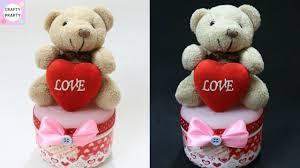 diy valentine s day gift idea diy teddy bear organizer box how to make teddy bear gift box
