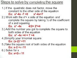 solving quadratic equations by completing the square math steps to solve by completing the square solving