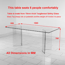geo glass clear rectangle 6 seater dining table hygena savannah and black chairs gg73 dimen