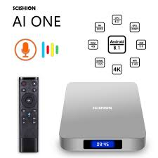 SCISHION AI ONE Android 8.1 TV Box 4GB/32GB 2G/16G WiFi Bluetooth HD Media  Player Display Screen Smart Wireless w/ Voice Control|Set-top Boxes
