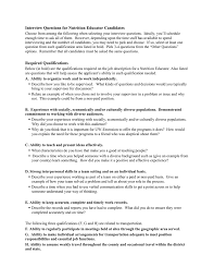 Questions To Ask On Work Experience Interview Questions For Nutrition Educator Candidates