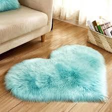 long rug blue white pink gy carpet love heart shape fur rugs artificial wool sheepskin