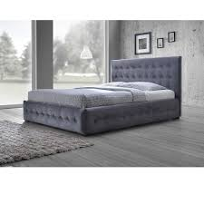 queen platform bed frame with headboard. Unique With Baxton Studio Pittman Contemporary Grey Fabric Upholstered Platform Bed  With Button Tufted And Winged Headboard Queen Frame Headboard