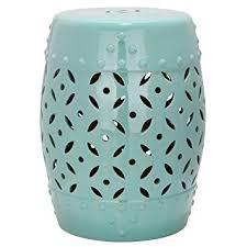 ceramic garden stools. Safavieh Castle Gardens Collection Lattice Coin Ceramic Garden Stool, Robins Egg Blue Stools