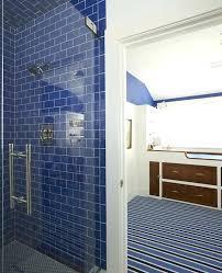 blue shower blue subway tiles blue shower curtain bed bath and beyond