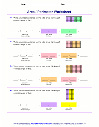 Area and perimeter worksheets (rectangles and squares)Write an expression for the area of a two-part rectangle in two ways, thinking of one rectangle or two (grades 3-5).