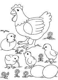 Small Picture Little Chick And Hen Farm Animal Coloring Pages Free Animal