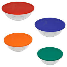 pyrex 8 piece glass mixing bowl set with assorted color lids