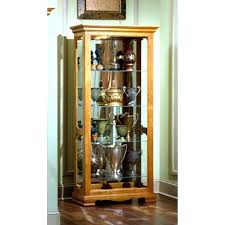 wood curio cabinet harden oak wide small with glass doors c