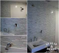 glasarble tile bathroom accent wall
