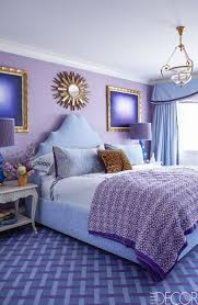 In the same purple-filled apartment designed by Papachristidis, the custom  bed is upholstered in a Brunschwig & Fils fabric and dressed in bedding by  ...