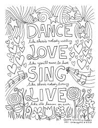 quote coloring pages. Exellent Coloring 12 Inspiring Quote Coloring Pages For Adults  Dance Inside O