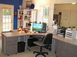 L Shaped Home Office Design With Grey Color And Black Frame Swivelchair  With Grey Cushions Also ...