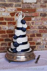 Navy And White Rose Wedding Cake Cakes By Natalie Porter