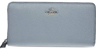 Coach Accordion Zip-around Leather Wallet in Blue - Lyst