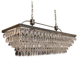weston rectangular glass drop chandelier antique brass finish 40