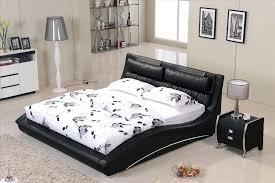 most popular bed frames furniture bedroom confortable black leather headrest bed solid wood frame curved shaped smart modern bed b07 popular bed frames