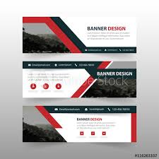 Business Banner Design Red Black Triangle Abstract Corporate Business Banner Template