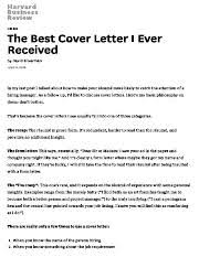 the best cover letter i ever receivedpdf haryard business review hiring the best cover letter i the best cover letter ever written