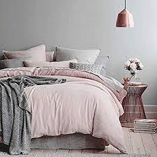 pale pink bedding. Unique Bedding 100 Cotton Duvet Cover Pillow Cases 3pcs Pale PinkSilver Grey Bedding  400TC  Throughout Pink Amazon UK