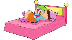 bed clipart. Beautiful Bed Little Girl Reading Book In Bed PNG  JPG And Vector EPS Infinitely  Scalable For Bed Clipart G