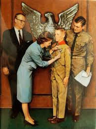 norman rockwell painting i got when son economic sphere earned his eagle