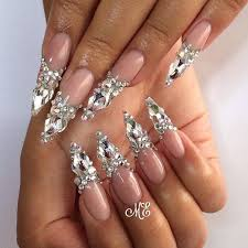Pointy Nails Designs With Diamonds