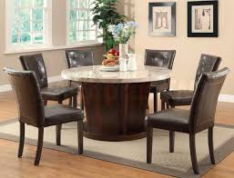 rustic round dining room sets. Dining Room. Brown Wooden Table With Round White Granite Top Combined By Leather Rustic Room Sets I