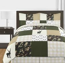 green and beige deer buffalo plaid check woodland camo boy full queen teen childrens bedding comforter set by sweet jojo designs 3 pieces rustic