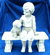 military garden stone solr statue statues boy with dog on memorial concrete statues