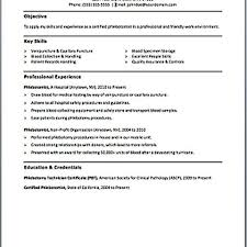 Resume For Phlebotomist Simple Of Magnificent Templates Phlebotomy