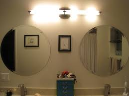 double vanity lighting. Exciting Lowes Lights Bathroom Corded Vanity Wall Led Lamp On Circle Mirrors And Blue Rack Faucet Cream Picture Double Lighting P