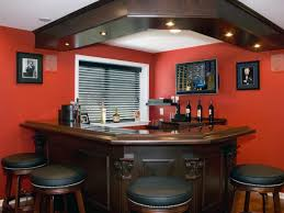 splendid kitchen furniture design ideas. Decoration: Excellent Red Accents Wall Paint Of Home Basement Bar Ideas With Oak Wood Splendid Kitchen Furniture Design F