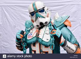 London, UK. 30 September 2017. A Miami Dolphins Supporter Wears A Stormtrooper  Helmet