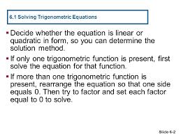 6 1 solving trigonometric equations
