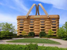 interesting you might think this is a large picnic basket but it is  actually longaberger corporate by newark ohio with longaberger building.