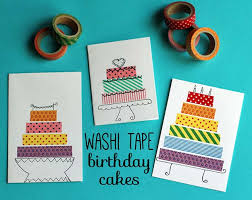 Washi Tape Crafts - Washi Tape Birthday Cake Cards - Wall Art, Frames, Cards