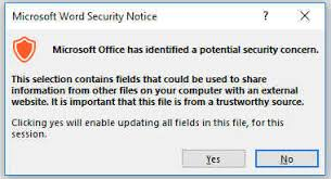 Microsoft Word Update All Fields Word 2016 Microsoft Office Has Identified A Potential Security Concern