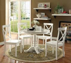 cm3546rt 5 pc penelope white finish wood and faux marble 42 round dining table set