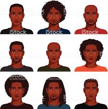 アフリカ系アメリカ人男性様々なヘアスタイル あごヒゲのベクター