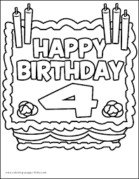 4 Year Old Coloring Pages Birthday Cake Four Years Color Page
