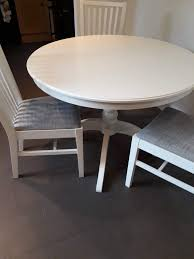ikea set of round white table ingatorp extensible and four chair norrnas