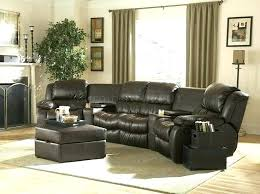 curved sectional sofa recliner with sectionals sofas brown bonded leather home theater rec