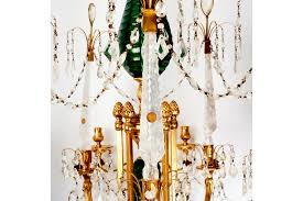 emerald green crystal and rock crystal chandelier dating from circa 18 4 6