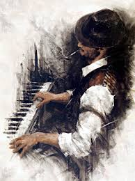 the piano man by remi labarre oil