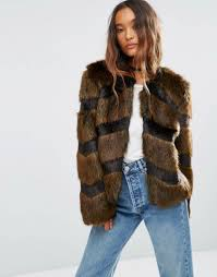 asos faux fur jacket with chevron stripe