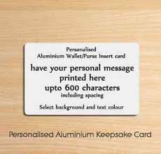 Details About Personalised Metal Aluminium Wallet Insert Card Ideal Keepsake Gift Or Present