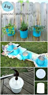 make your own hanging garden tins diy