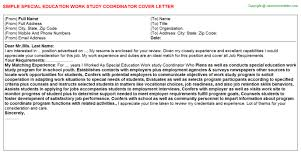 work study cover letters special education work study coordinator cover letter