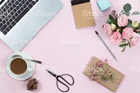 pink office desk. Top View Of Pink Office Desk Table With Laptop, Smartphone, Cup Coffee And